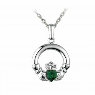 Rhodium Claddagh Pendant With Green Crystal