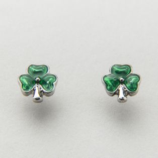 Rhodium Shamrock Stud Earrings
