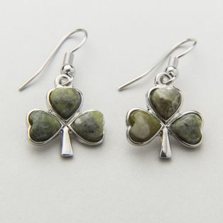 Shamrock Connemara Marble Drop Earrings