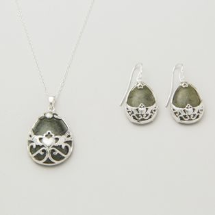 Silver Basket Claddagh Earrings & Pendant Set