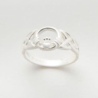 Silver Celtic Trinity Knot & Claddagh Ring