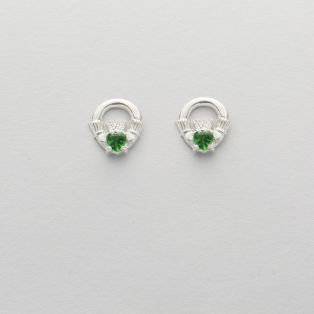 Silver Claddagh Green Stud Earrings