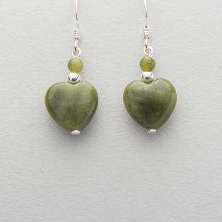 Silver Connemara Marble Heart Earrings