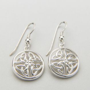 Silver Round Trinity Knot Drop Earrings