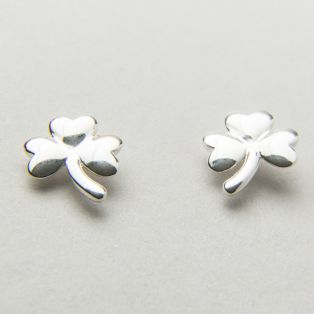 Silver Shamrock Stud Earrings
