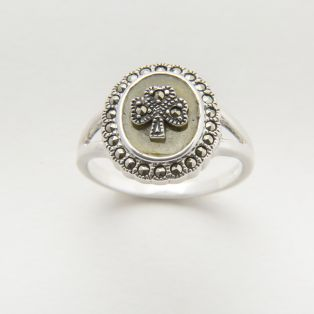 Sterling Silver Connemara Marble Marcasite Ring
