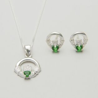 Sterling Silver Green Irish Claddagh Earrings & Pendant Set