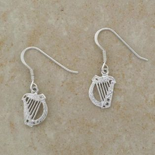 Sterling Silver Irish Harp Earrings
