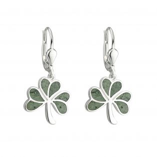 Sterling Silver Marble Shamrock Earrings