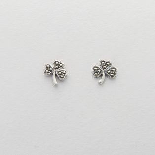 Sterling Silver Marcasite Shamrock Stud Earrings