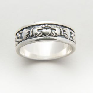Sterling Silver Mens Oxidised Claddagh Band