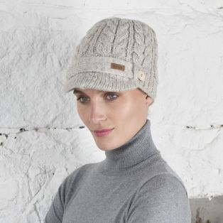 Stylish Irish Oatmeal Brooklyn Peak Cable Hat