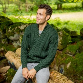 Army Green Lagan Aran Sweater