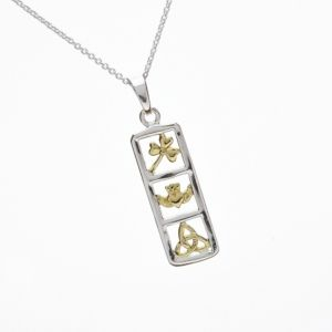 Sterling Silver Symbols of Ireland Pendant