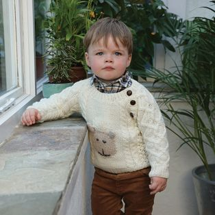 Handknitted Merino Wool Baby Button Crew Neck Sweater
