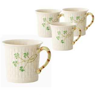 Belleek Irish Shamrock Mugs Set of 4
