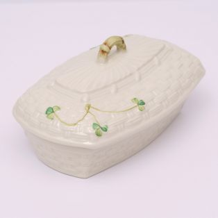 Belleek Shamrock Butter Dish