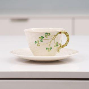 Belleek Shamrock Tea Cup & Saucer
