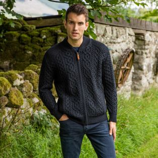 Men's Cashel Aran Zipper Cardigan