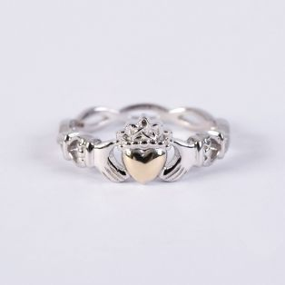10k Gold & Silver Claddagh Ring