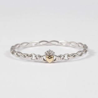 10k Gold & Silver Claddagh Bracelet