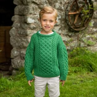Boys Crew Neck Aran Sweater