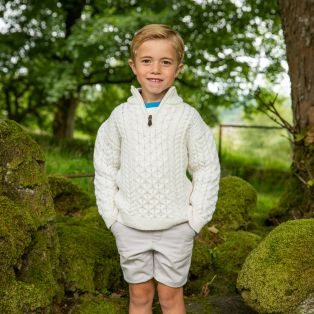 Boys Half-Zip Aran Sweater