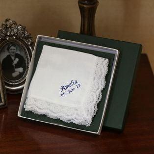 Personalized Ladies Set Of 3 Linen Handkerchiefs