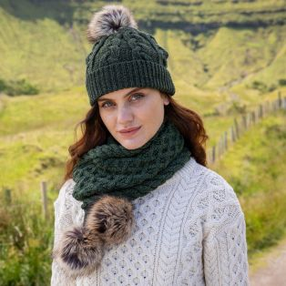 Aran Bobble Hat & Scarf Set