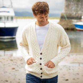 Mens Merino Wool V Neck Cream Cardigan