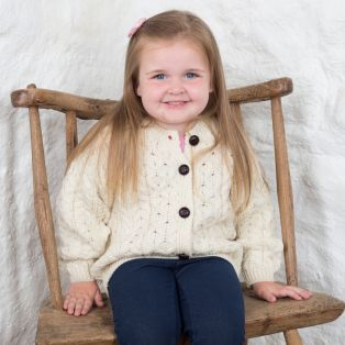 Childrens Aran Lumbar Cardigan