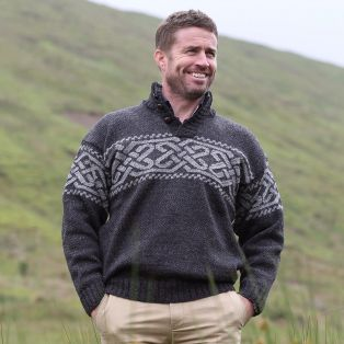 Mens Worsted Wool Celtic Knot Sweater