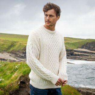 Mens Traditional Aran Sweater Dark