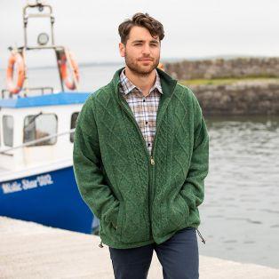 Mens Lined Shetland Zipper Irish Aran Cardigan