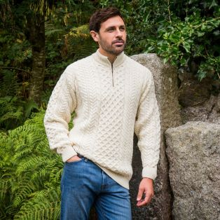 Army Green Lagan Aran Sweater