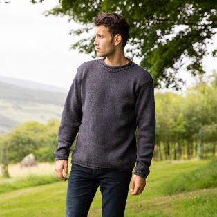Mens Roll Neck Aran Jumper