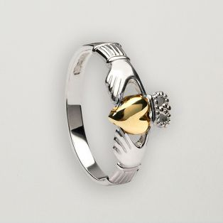 Sterling Silver & 10ct Gold Claddagh Ring