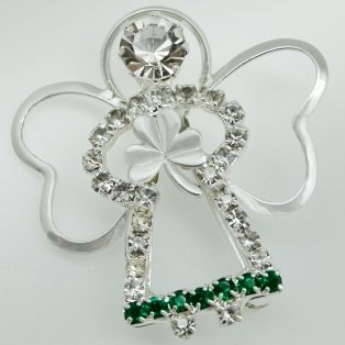 Guardian Irish Angel Shamrock Nickle Brooch