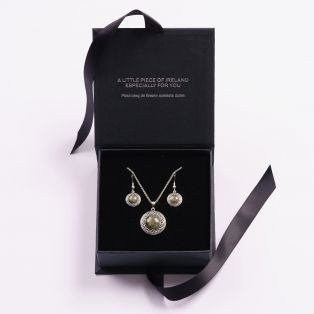 Connemara Marble Round  Celtic Earrings & Pendant Set