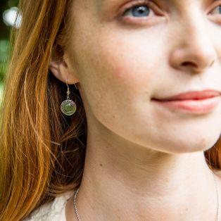 Connemara Marble Round  Celtic Earrings