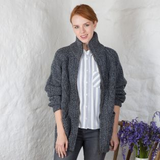 Women's Hand Knit Aran Zipper Cardigan