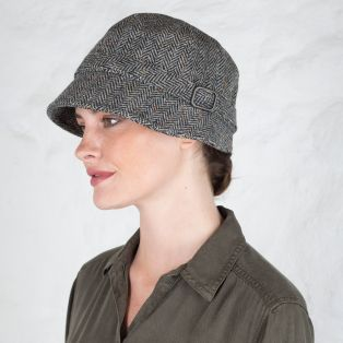 Gray Wool Flapper Cap
