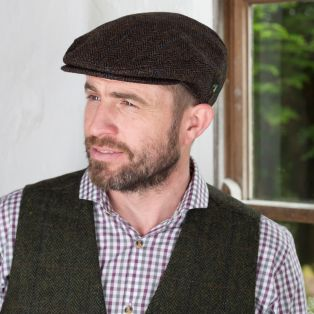 Brown/Blue Herringbone Irish Flat Cap