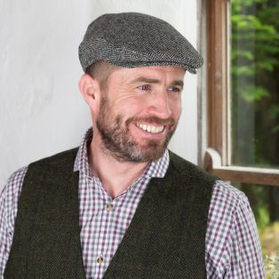 Gray Herringbone Irish Flat Cap