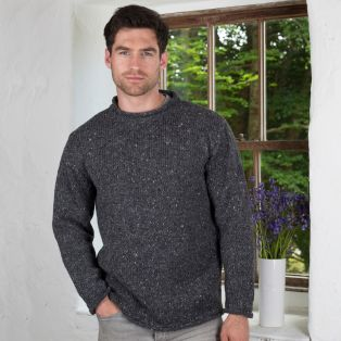 Donegal Curl Neck Aran Sweater