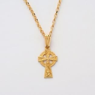 10k Gold Celtic Irish Cross Pendant