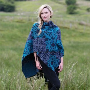 Fringed Irish Shawl With Celtic Design
