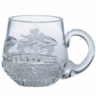 Personalized Galway Crystal Shamrock Christening Mug