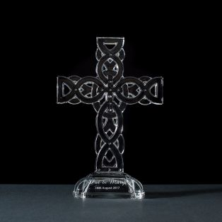 Personalized Galway Crystal Celtic Cross