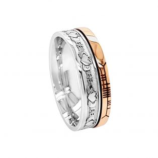 Silver 10ct Gold Claddagh Faith Band